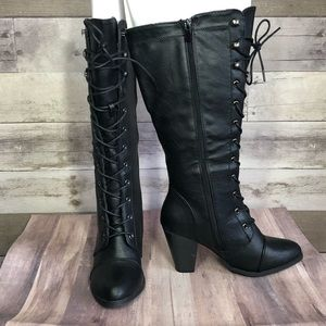 Black Lace up Boot size 8